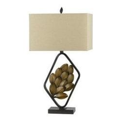 CAL Lighting - Sarzana Autumn Leaf Metal Table Lamp by Universal Lighting and Decor - 150W 3-Way Sarzana Metal Resin Table Lamp