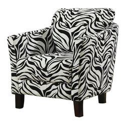 Coaster - Coaster Club Chair in Zebra Print - Coaster - Club Chairs - 900404 - Embrace your wild side with help from this jungle accent chair. The piece carries either a zebra pattern upholstery and features cappuccino hardwood legs. Plus, the plush seating provides added comfort. Add a sense of boldness to your home decor with help from this accent chair.