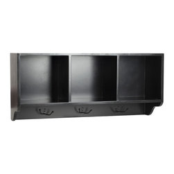 Safavieh - Safavieh Alice Black Cubby Wall Shelf - Reminiscent of schoolhouse cubbies, the Alice Wall Shelf is designed to minimize entry hall clutter, and keep kids organized. With its contemporary black finish, this piece has three storage spaces for hats, gloves, or d_cor.