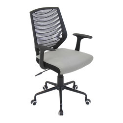 "Lumisource - Network Office Chair, Black/Silver - 22"" L x 25"" W x 36.6 - 39.5"" H"
