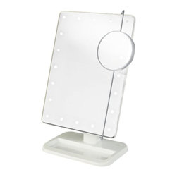 Jerdon JS811W 8-Inch Portable LED Lighted Adjustable Tabletop Makeup Mirror - The Jerdon JS811W 8-inch x 11-inch Portable LED Lighted Adjustable Tabletop Makeup Mirror uses LED light to provide a clean reflection whenever you need it. This mirror features LED long lasting bulbs that are lined around the mirror to distribute light evenly. The LED bulbs will last the life of your mirror and cool to the touch for your safety. The LED bulbs have a low power requirement for providing continuous bright light and require (4) eAAe batteries (not included) to operate. The on/off switch located on the back of the device will activate the power when you need it. Designed for portability with a 1.5-pound weight, no power cord and measuring only 8-inches x 13-inches in size, this LED lighted (non-magnified) makeup mirror fits easily on table tops and includes an adjustable eup and downe tilt stand. Also included is a 3ediameter, 10X magnified sliding spot mirror that can be adjusted from eside-to-sidee and eup and downe for up close makeup work at different angles. When not in use, the spot mirror can be stored behind the main mirror to provide a larger viewing area. A storage accessory tray is located at the base of the mirror to keep smaller items organized with room for tweezers, brushes and other items used daily. This mirror is great for traveling, comes in a white finish and requires some easy assembly. The Jerdon JS811W  Portable LED Lighted Adjustable Tabletop Makeup Mirror comes with a 1-year limited warranty that protects against any defects due to faulty material or workmanship.  Jerdon Style has earned a reputation for excellence in the beauty industry with its broad range of quality cosmetic mirrors (including vanity, lighted and wall mount mirrors), hair dryers and other styling appliances. Since 1977, the Jerdon brand has been a leading provider to the finest homes, hotels, resorts, cruise ships and spas worldwide.