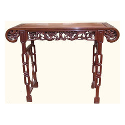 n/a - Rosewood Chinese Altar Table With Deep Dragon Carving - Room enhancing solid rosewood Chinese Cheung Leung Altar Table or Console Table. All hand crafted, featuring dragon carving design. An outstanding table for living room, den. Use as a Console Table, entrance table or as a display table. Distinct, stunning and functional. Deep, rich wood grains. Smooth, satin finish done completely by hand. Browse our extensive selection of solid rosewood Oriental furniture to compliment your altar table. This rare hand made piece is in limited supply. Don��t wait to purchase. 48��x16��x36��H