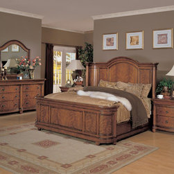 Wynwood - Vienna Court Panel Bed - Features: -Consists of headboard, footboard and bed rails.-Worm Holing.-Constructed of cerajeira veneers and hardwood solids.-Provincial Ginger finish.-Distressed: Yes.-Collection: Vienna Court.Dimensions: -Overall Product Weight: 261 lbs.