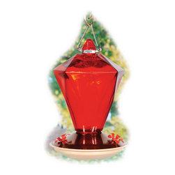 Woodlink - Hummingbird Feeder Ruby Diamond Glass - Ruby Diamond Glass Hummingbird Feeder with a 24 oz capacity