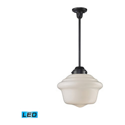 Elk Lighting - Landmark Lighting Schoolhouse 69050-1-LED 1-Light Pendant in OiLED Bronze - LED - 69050-1-LED 1-Light Pendant in OiLED Bronze - LED Offering Up To 800 Lumens belongs to Schoolhouse Pendants Collection by Landmark Lighting In The Early 1900��_��_��_��_��_��_S, Schoolhouses, Banks, And Other Public Institutions Began Using Fully Enclosed Pendants That Not Only Gave Off An Abundance Of Light, But Were Also Easy To Clean And Maintain. The Period Authentic Styling Is Reflected In The Fluted Or Patterned White Blown Glass And Matching Hardware Finished In Polished Chrome Or Antique Brass. These Exclusive Pendants Exemplify The Uncompromising Historic Styling. - LED Offering Up To 800 Lumens (60 Watt Equivalent)ghting/Patio Heaters:Patio & Garden/Outdoor Heating & Lighting/Tabletop Pendant (1)