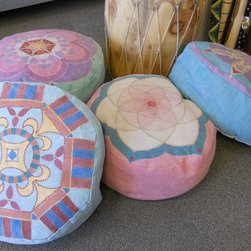 Hand-Painted Canvas Pouf, Atomic Lotus by Interior Alchemy - These poufs are hand-painted canvas. The pastel colors are just stunning, and I would love a big pile of these!