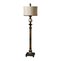 Uttermost - Tusciano Rustic Ostriche Egg Floor Lamp - The  Carolyn  Kinder  designed  rustic  floor  lamp  is  hand  rubbed  dark  bronze  finish  accented  with  a  lightly  stained  capiz  shell  ball.  The  round,  khaki  shade  brings  a  natural,  modern  feel  into  any  room.  Tusciano  Ostriche  Egg  Floor  Lamp  will  be  the  perfect  addition  to  any  room  decor.  Click  here  to  see  the  other  rustic  lamps  we  offer.