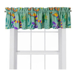 Room Magic - Room Magic Little Lizards Window Valance - RM14-LL - Shop for Window Treatments from Hayneedle.com! The Room Magic Little Lizards Window Valance pairs perfectly over the set's curtain window panels. Coordinating with the series' bedding set knobs and accessories this valence gives your little adventurer's room a completely finished look. This adorable designer fabric is covered in crawling lizards slithering snakes climbing frogs and spinning spiders for creative kids.About Room MagicRoom Magic doesn't just make children's furniture; they design furniture specifically for children using the magic of childhood imagination and creativity as a guiding principle. Beginning in 1999 with graphic designer Karen Andrea's attempt to create a truly lively and unique room for her five-year-old daughter Sarah the company has maintained a focus on using bright colors and unique themes that steer clear of cliched motifs. Bright and bold playful cut outs decorate the quality hardwood pieces finished with beautiful stains. With collections that are geared both to boys and to girls Room Magic provides the furniture accessories and bedding you need to bring the magical fun of childhood to your kids' rooms.