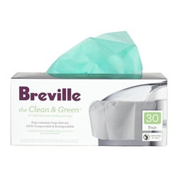 Breville - Breville The Clean & Green Biodegradable Pulp Container Bag for Juicers, 30 Bags - Having a product that's both easy and ecofriendly is not pulp fiction. These bags come 30 to a box and are designed for the fruit and vegetable pulp that's left over when you use the Breville juice extractors. They're biodegradable, 100 percent compostable, made from non-GMO cornstarch and hold six liters each.