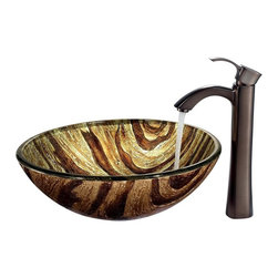 Vigo Industries - Zebra Vessel Sink with 12.25 in. Faucet - Includes all mounting hardware, hot or cold waterlines, a curved spout and standard US plumbing 0.38 in. connections.