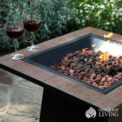 Uniflame Propane Outdoor Fire Bowl - Ready to add something other than the standard copper fire pit to your backyard? Then you're in luck, because the Propane Outdoor Fire Bowl from Uniflame/Blue Rhino is an easy way to add a unique touch to your outdoor area. See more images and video here: http://www.outdoorliving.com/uniflame-gas-outdoor-fire-bowl.html