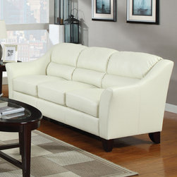 Coaster - Brooklyn Sofa, Ivory - Create a casual and stylish living room with this generously cushioned sofa set. Featuring flared arms, attached seat and back cushions made from bonded leather, a wood frame and fiber filled back cushions. Complete this ensemble with a casual occasional group (#701511).