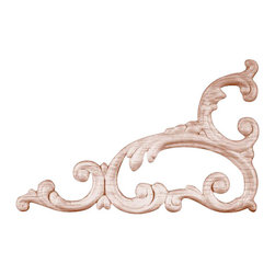 Superior Moulding of Nevada - 764 Left and Right Wood Applique, Set of 2 - Decorative wood onlays and appliques, are decorative ornaments useful for bringing visual interest to flat areas. Embossed wood onlays and appliques are often used to decorate fireplace mantels, stove or range hoods and cabinetry headers.