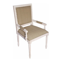 Kathy Kuo Home - Brittany French Country White Wash Wood Arm Chair - This French Directoire chair gets a nod for functional elegance. From the etched panel back and swirl arms to the beautiful fluted legs with carved rosettes accents, it invites vintage Provincial charm to dinner. Wrapped in a warm olive cotton fabric with a white-washed finish this mahogany arm chair is ideal for everyday use around one of our French country farmhouse or pedestal dining tables.