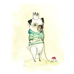 PUG Eduardo Print by Holli - Here is an adorable print by Paola Zakimi. A pug wearing a crown and a T-shirt? Sign me up!