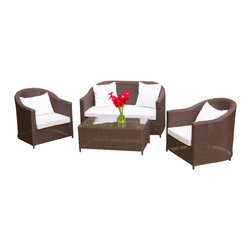 Great Deal Furniture - San Vicente Brown 4pcs Wicker Sofa Set - Accentuate your living room with this modern wicker sofa set. The San Vicente sofa  set adds casual beauty to any outdoor living space with ease. This set includes 1 (one) loveseat and 1 (one) coffee table and 2 (two) wicker club chairs. Perfect for entertaining in your backyard, patio or around the pool, this set offers simple elegance.