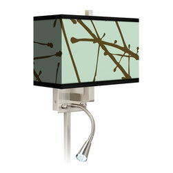 """Stacy Garcia - Asian Stacy Garcia Calligraphy Tree Ice LED Light Plug-In Sconce - This giclee shade wall sconce has a clean crisp look and contemporary appeal. It features a giclee printed pattern on high-quality canvas. The angular frame comes in a lustrous brushed steel finish. Installation is easy: just plug it in to any standard wall outlet. It's perfect beside a bed or a reading chair thanks to the energy efficient gooseneck LED reading light. Reading light and main light are controlled separately. This item is custom made-to-order. Brushed nickel finish. Giclee shade. Plug-in style. Takes one 60 watt bulb (not included). Gooseneck light with 12 LED array. 13 1/2"""" high 14"""" wide. Extends 6 1/4"""" from the wall. Gooseneck LED with 10 1/2"""" extension. Backplate is 5"""" wide 9"""" high 1 1/4"""" deep. Shade is 14"""" wide 5"""" deep and 8 1/2"""" high. U.S. Patent # 7347593.  Brushed nickel finish.  Exclusive Calligraphy Tree Ice pattern giclee-printed shade.  Plug-in style.  Takes one 60 watt bulb (not included).  Gooseneck light with 12 LED array.  13 1/2"""" high 14"""" wide.  Extends 6 1/4"""" from the wall.  Gooseneck LED with 10 1/2"""" extension.  Backplate is 5"""" wide 9"""" high 1 1/4"""" deep.  Shade is 14"""" wide 5"""" deep and 8 1/2"""" high."""