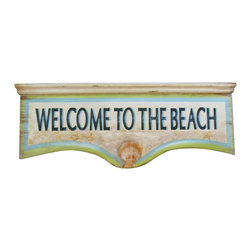 """Handcrafted Model Ships - Wooden Welcome to the Beach Wall Plaque 25"""" Beach Style Decorating Nautical Art - Immerse yourself in the warm ambiance of the beach, imagining golden sands between your toes as you listen to the gentle sound of the surf, while you enjoy Handcrafted Nautical Decor's fabulous Beach Signs. Perfect for welcoming friends and family, or to advertise a festive party at your beach house, bar, or restaurant, this Wooden Welcome to the Beach Wall Plaque 25"""" sign will brighten your life. Place this beach sign up wherever you may choose, and enjoy its wonderful style and the delightful beach atmosphere it brings."""