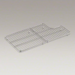 """KOHLER - KOHLER Stainless steel sink racks for 36"""" Whitehaven(R) - Protect the beauty of your Whitehaven kitchen sink with a pair of sink racks. Custom-fit for the large single basin of Whitehaven Self-Trimming apron-front sinks, these stainless-steel racks help safeguard your fragile dishes and protects the sink's gloss"""