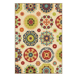 None - Promise Salsalito Beige Rug (5'2 x 7'6) - This lovely area rug is sure to add warmth and character to any room with its vibrant coloration and striking floral patterns. Add some fun atmosphere to any room in your home with this highly stylized and comfortable beige area rug.
