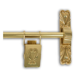 None - Polished Brass 48-inch Victorian Scroll Tapestry Hanger - Add a sense of elegance to your home with this Victorian scroll tapestry hanger. This sturdy brass tapestry hanging rod comes with stylized brackets,center supports and decorative tapestry clips.