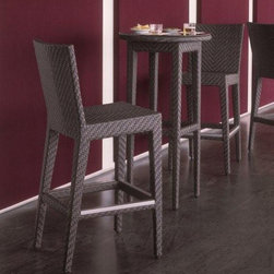 Hospitality Rattan - Soho 3 PC Pub & Barstool Group in Rehau Fiber - Color shown is not accurate . See additional image as an example of the EXACT product color. Include: Two Barstools & Pub Table. Made of Aluminum Frame w All Weather Rehau Fiber Wicker. Weather and UV resistant. Plexiglas is used as support underneath wicker weave. Rehau Fiber Java Brown finish. Stackable design helpful In commercial settings. Matching seating group and dining set available. Barstool: 19 in. W x 23 in. L x 45 in. H (20 lbs.). Pub Table: 24 in. W x 24 in. L x 44 in. H (20 lbs.)The Soho Collection is a sleek contemporary collection that offers a unique see-through modular sectional that allows endless possibilities ranging from a sofa, loveseat, armless chair setup, to a standard sectional. The Soho Collection offers a fully anodized aluminum frame, which is then woven with Rehau Java Brown fiber. Its unique look and multi-colored textured surface make it one of the most attractive collections for outdoor use. The Soho Collection only requires cushions for the seating pieces. The balance of the collection can be used without cushions. In addition, glass is optional as the table tops are fully woven and offer reinforced Plexiglas undersides for enhanced sturdiness.  The large round dining table accommodates an umbrella. The Soho armchair and chaise lounges are all stackable items.