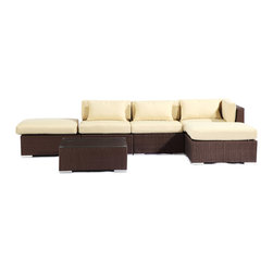 "Kardiel - Modify-It Outdoor Furniture Patio Sectional Chaise Poipu 6pc Set Rattan, Cream - Poipu 6-piece set is a salute to clean contemporary style. The 6-piece Modify-It Poipu collection features an open-ended ultra stylish chaise sectional. A matching tempered glass coffee table grounds the setting. Extraordinary design stimulates the conversationalist and lounger alike. The flexible nature of Modify-It modular allows for customized reconfiguring of the layout at will. The design origins are Clean European. The elements of comfort are inspired by the relaxed style of the Hawaiian Islands. The Aloha series comes in many configurations, but all feature a minimalist frame and thick, ample modern cube cushions. The back cushions are consistent in shape, not tapered in to create the lean back angle. Rather the frame itself is specifically ""lean tapered"" allowing for a full cushion, thus a more comfortable lounging experience. The cushion stitch style utilizes smooth and clean hand tailoring, without extruding edge piping. The generously proportioned frame is hand-woven of colorfast, PE Resin wicker. The fabric is Season-Smart 100% Outdoor Polyester and resists mildew, fading and staining. The ability to modify configurations may tempt you to move the pieces around... a lot. No worries, Modify-It is manufactured with a strong but lightweight, rust proof Aluminum frame for easy handling."
