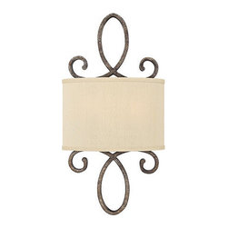Ballard Designs - Hearst 2-Light Sconce - Hand finished. UL-listed for damp conditions. The slightly over-scaled design draws attention to the scroll details that make our Hearst 2-Light Sconce so distinctive. Hand crafted with a textured pewter finish. A silk fabric shade provides textural contrast and filters the light for a warm, soft glow. Hearst 2-Light Sconce features: . .