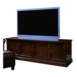 "Hooker Furniture - Hooker Furniture Beacon Square 82"" Entertainment Console in Cherry Finish - Hooker Furniture - TV Stands - 36755452 - The Beacon Square collection brings this 82? Entertainment Console to you with all the charm of traditional styling and the modern amenities you deserve. The central cabinet doors have interchangeable glass/wood panels and are accented by brushed metal door pulls. Adjustable shelving allows for added convenience and offers all the storage you will need.  Features:  Traditional styleConstructed of hardwood solids and pin knotty cherry veneersAdjustable shelvingWood base Two center doors have interchangeable wood/glass panels Three plug outletLevelers Cherry finishNOTE: TV Area can accommodate up to a 73? television when used alone"