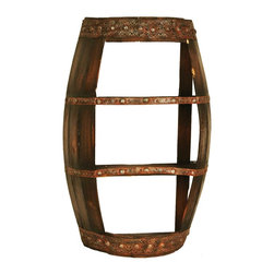 Zeckos - 2 Tier Wooden Barrel Shelves Western Decor - This barrel shaped wall shelf looks great in dens, wine cellars and home bars. Made of cast resin and wood, the barrel features a pair of shelves on which you can store your favorite bar glasses, wine glasses, or your favorite collectibles. The shelf measures 26 inches tall, 16 inches wide and 8 inches deep. It makes a great gift.