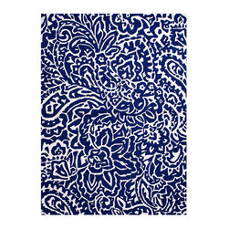 """Barcelona Off White Rug 7'6"""" x 9'6"""" - Densely patterned with Mediterranean florals in a cultured cream over royal blue, this glamorous hand-hooked area rug comes from the Barcelona collection, a line of chic floor coverings that recall the wildly lovely and contrasting geometries of the iconic Spanish city.� Ideal for transitional settings but adding flair to a more traditional room, the rug is durable indoors and out."""