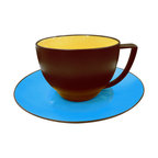Waechtersbach - Duo Set of 4 Coffee Cups & Saucers Duo Curry & Azur - Let this playful juxtaposition of pop art colors add a stylish touch to your table. Each set of four cups is glossy yellow on the inside and matte chocolate on the outside, while the saucers are a brilliant azure blue. All are made from porcelain that's been treated with a ceramic glaze, so they're durable and dishwasher safe.