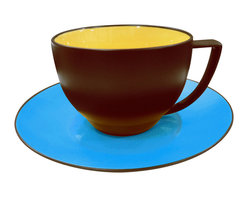Waechtersbach - Duo Coffee Cups and Saucers, Curry/Azure, Set of 4 - Let this playful juxtaposition of pop art colors add a stylish touch to your table. Each set of four cups is glossy yellow on the inside and matte chocolate on the outside, while the saucers are a brilliant azure blue. All are made from porcelain that's been treated with a ceramic glaze, so they're durable and dishwasher safe.