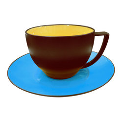 Duo Set of 4 Coffee Cups & Saucers Duo Curry & Azur