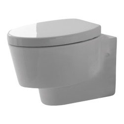 Scarabeo - Round White Ceramic Wall Hung Toilet - Wall hung toilet with included seat and cover.
