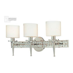 Troy Lighting - Troy Lighting Collins Transitional Bathroom Light X-NP3291B - From the Collins Collection, this Troy Lighting bathroom light dazzles with its three torch-style candelabra lights. The contemporary styling of the clear opal glass diffusers are complimented by the bold look of the vibrant Polished Nickel finish on this transitional bathroom light, which also features diamond crystal accenting for added visual flair.