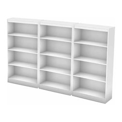 South Shore - South Shore Office 4 Shelf Wall Bookcase in Pure White - South Shore - Bookcases - 7250767CPKG - South Shore 4 Shelf Bookcase in Pure White