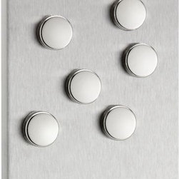 Blomus - MURO Set of 6 Magnets by Blomus - Constantly losing messages? Hold important messages, photos and reminders safe and secure on any metallic surface with the Blomus MURO Set of 6 Magnets. The simple design features stainless steel circles in large or small sizes. Works especially well with the Blomus MURO Magnetic Board.