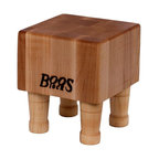 John Boos - 6 in. Square Shaped Cutting Board in Maple Fi - Includes 4 wooden bun feet. Hard maple edge grain construction. Non-reversible cutting board. Maple finish