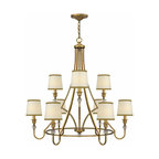 Antique Copper And Fabric Shades chandelier in Baked Finish -