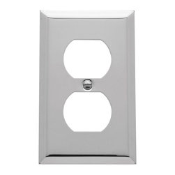 Baldwin Hardware - Beveled Edge 1 Outlet Wall Plate in Polished Chrome (4752.260.CD) - As remarkably expressive as they are functional. These brass wall plates by Baldwin feature soft curves and defined angles. Whether in an Old Victorian or a stylish downtown co-op, the solid forged brass plates will complement your home's style.