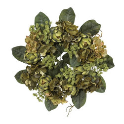 Nearly Natural - Artichoke Wreath - Not for outdoor use. An abundance of Artichokes and greenery. Perfect for any season. 18 inch diameter makes a big impression. 18 in. W X 18 in. H (3lbs)Featuring several hues of green lightly adorned with softer shaded blooms, this bold wreath brings a wealth of natural beauty and outdoor freshness to any decor. The artichoke is well known for its varied textures, from the supple leaves to the intricately shaped hearts, and this wreath demonstrates them perfectly. Made from the finest materials, this wreath not only looks beautiful, but will last a lifetime.
