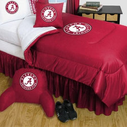 Sports Coverage - Alabama Crimson Tide Bedding - NCAA Comforter and Sheet Set Combo - Queen - This is a great University of Alabama Crimson Tide NCAA Bedding Comforter and Sheet set combination!. Buy the Microfiber Sheet set with the Comforter and save off our already discounted prices. Comforter is made from 100% Polyester Jersey Mesh - just like what the players wear. The fill is 100% Polyester batting for warmth and comfort. Authentic team colors and logo screen printed in the center. Soft but durable. Machine washable in cold water. Tumble dry in low heat.   Microfiber Sheet Hem sheet sets have an ultrafine peach weave that is softer and more comfortable than cotton.  Its brushed silk-like embrace provides good insulation and warmth, yet is breathable.  The 100% polyester microfiber is wrinkle-resistant, washes beautifully, and dries quickly with never any shrinkage. The pillowcase has a white on white print beneath the officially licensed team name and logo printed in vibrant team colors, complimenting the NEW printed hems. The Teams are scoring high points with team-color logos printed on both sides of the entire width of the extra deep 4 1/2 hem of the flat sheet.  Includes:  -  Flat Sheet - Twin 66 x 96, Full 81 x 96, Queen 90 x 102.,    - Fitted Sheet - Twin 39 x 75, Full 54 x 75, Queen 60 X 80,    -  Pillow case Standard - 21 x 30,    - Comforter - Twin 66 x 86, Full/Queen 86 x 86,