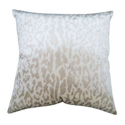 Used Contemporay Beige & Taupe Animal Print Pillow - Velvety soft classic in a trendy animal print. Neutral and complimentary in any room of the house. These pillows are made from new designer fabric, well crafted with invisible zipper and filled with poly fill. A must have item.