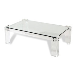 Interlude - Interlude Gwenyth Rectangular Cocktail Table - A completely classic cocktail table becomes totally of-the-moment when it's realized in clear acrylic, glass and metal.