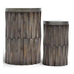 Vertuu Design - Durg Solid Wood Side Tables (Set of 2) - Add a touch of rustic style to your home with the small Durg Solid Wood Side Table. Made from distressed wood pieces arranged in a vertical weave pattern, this cylinder table is simple and chic. Other features include a smooth metallic top that provides a welcome contrast to its brown wood. Use the table to display vases, magazines, photo frames or other decorative items in a living or dining room.