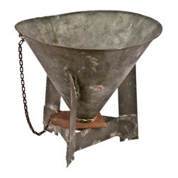 Salvatecture Studio - Vintage Handmade Galvanzed Funnel on Stand - Here's one accessory no one else will have. This handmade antique galvanized funnel will add a touch of industrial chic to your room. Be sure to place it somewhere safe — kids may be tempted to see if it still works.