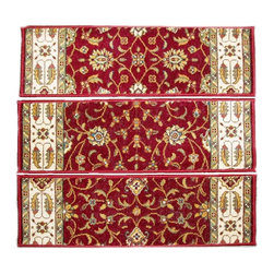 Momeni - Persian Garden Burgundy PG-08.25 2.6 x 9 Inches - Premium Single Stair Treads - Persian Garden Burgundy PG-08.25 2.6 x 9 Inches Rug Depot Premium single Treads - Buy the amount of treads you require.
