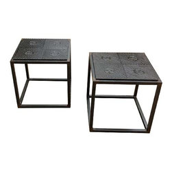 R.T. Facts - Cast Iron Star Side Table - Repurposing with resplendence. This wrought iron side table's top is composed of an antique cast iron floor tile. It's just the unique, industrial touch you've been seeking for your home.