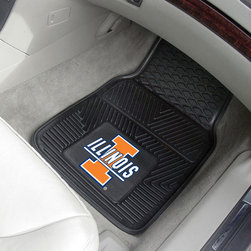 Fanmats - Fanmats Illinois 2-piece Vinyl Car Mats - A universal fit makes this two-piece mat set ideal for cars, trucks, SUVs and RVs. The officially licensed Illinois design in true team colors is permanently molded of vinyl for longevity.